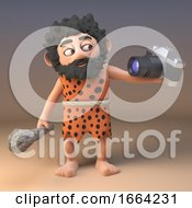 Funny 3d Caveman Cartoon Character Taking A Selfie And Holding A Club 3d Illustration