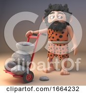 Silly 3d Caveman Character Wheeling A Hand Cart Trolley Full Of Rocks 3d Illustration