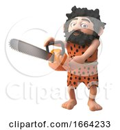 3d Prehistoric Caveman Character Using A Chainsaw 3d Illustration