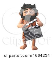 3d Funny Cartoon Prehistoric Caveman Character Holding A Film Slate Clapperboard 3d Illustration