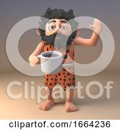 Poster, Art Print Of 3d Funny Caveman Cartoon Character Drinking A Cup Of Tea Or Coffee 3d Illustration