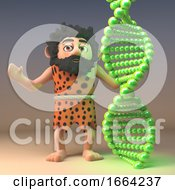 3d Funny Cartoon Caveman Character Ponders Evolution While Looking At A Strand Of Genetic Dna 3d Illustration