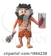 Cartoon 3d Prehistoric Caveman Character Drinking From A Glass 3d Illustration