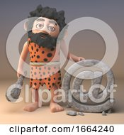 Poster, Art Print Of Clever 3d Cartoon Caveman Character Carves Another Email In Stone 3d Illustration