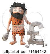 3d Prehistoric Caveman Character Has Carved A UK Pounds Sterling Currency Symbol From Rock 3d Illustration