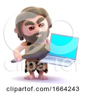 3d Caveman Is Angry With His Laptop
