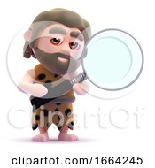 3d Caveman Looks Through A Magnifying Glass