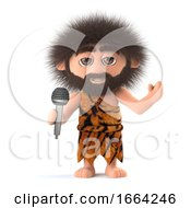 3d Funny Cartoon Primitive Caveman Character Singing Into A Microphone