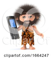 3d Funny Cartoon Primitive Caveman Character Holding A Mobile Phone