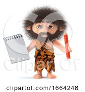 3d Funny Cartoon Primitive Caveman Character Holding A Notepad And Pencil