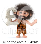 3d Funny Cartoon Primitive Caveman Has UK Pounds Sterling Currency Symbol