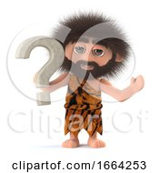 3d Funny Cartoon Caveman Character Has A Question