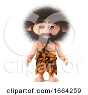 3d Funny Cartoon Caveman Character Has Crazy Hair