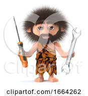 3d Funny Cartoon Primitive Caveman Has A Screwdriver And Spanner