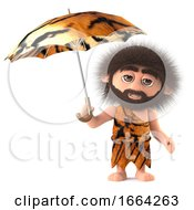 3d Funny Cartoon Savage Caveman Holding An Animal Skin Umbrella