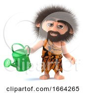 3d Funny Cartoon Primitive Caveman Watering His Garden