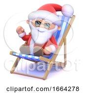 3d Santa Claus In A Deckchair