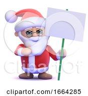 3d Santa Holding A Placard