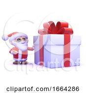 3d Santa Is Dwarfed By A Giant Present