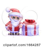 3d Santa Claus Has A Big Gift
