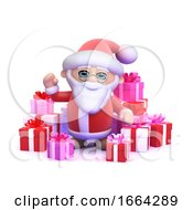 3d Santa Surrounded By Christmas Gifts