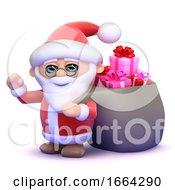 3d Santa Drags A Sack Full Of Christmas Presents