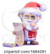 3d Santa Reads A List Of Good Boys And Girls
