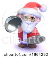 3d Santa Claus With A Silver Tray