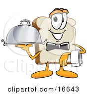 Slice Of White Bread Food Mascot Cartoon Character Serving A Dinner Platter While Waiting Tables