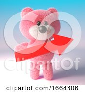 3d Cute Pink Fluffy Teddy Bear Character Holding A Big Red Arrow 3d Illustration