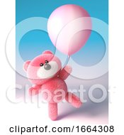 3d Teddy Bear With Soft Pink Fluffy Fur Playing With A Pink Party Balloon 3d Illustration