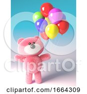 3d Celebrating Teddy Bear With Pink Fur Plays With Party Balloons 3d Illustration