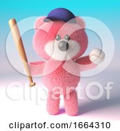 3d Cartoon Teddy Bear With Pink Fur Wearing Baseball Hat And Holding Baseball Bat And Ball 3d Illustration