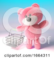 3d Teddy Bear Character With Pink Fur Carrying A Shopping Basket 3d Illustration