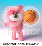 Pink 3d Cartoon Teddy Bear Character Playing With A Basketball 3d Illustration