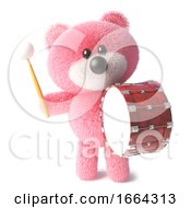 3d Teddy Bear With Pink Fluffy Fur Bangs On A Big Bass Drum 3d Illustration