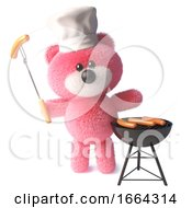 3d Teddy Bear With Fluffy Pink Fur Cooks Sausages On A Bbq Barbecue 3d Illustration