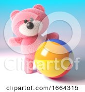 3d Teddy Bear Character With Soft Pink Fur Playing With A Beach Ball 3d Illustration