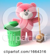 Cute 3d Pink Fluffy Teddy Bear Character Cleaning With A Broom And Green Recycle Bin 3d Illustration by Steve Young