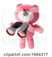 3d Cute Teddy Bear With Pink Fluffy Fur Using A Pair Of Binoculars 3d Illustration