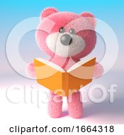 3d Teddy Bear Character With Pink Fur Reading A Book 3d Illustration