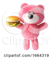 3d Teddy Bear With Pink Fur Eating A Cheese Burger Fast Food Snack 3d Illustration