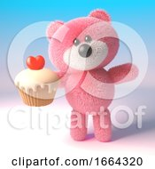 3d Teddy Bear With Pink Fur Eating A Delicious Cup Cake With A Heart 3d Illustration