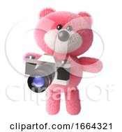3d Teddy Bear Cartoon Character With Pink Fur Using A Camera 3d Illustration