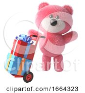 3d Cartoon Teddy Bear Character With Pink Fur Delivers Gift Wrapped Presents On A Hand Cart 3d Illustration