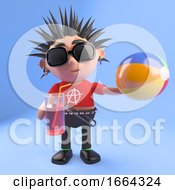 3d Punk Rock Character Drinking From A Glass And Holding A Beach Ball 3d Illustration