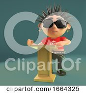 Cartoon 3d Punk Rocker Character Teaching At A Lectern 3d Illustration