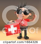 3d Funny Cartoon Punk Rocker Character Carrying A Medics First Aid Kit 3d Illustration