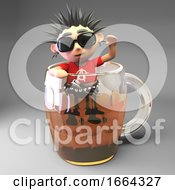 3d Drunk Punk Rocker Character Climbing Out Of A Pint Glass Of Beer 3d Illustration