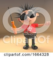 3d Punk Rocker Cartoon Character With Spikey Hair Holding A Screwdriver 3d Illustration